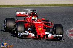 Sebastian Vettel, Ferrari, Formule 1-test op Circuit de Catalunya,  7 maart 2017, Formule 1