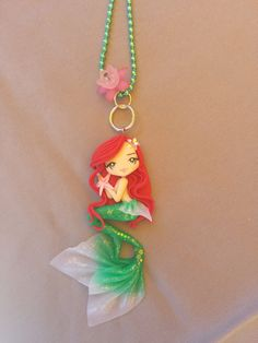 little mermaid necklace on fimo polymer clay by Artmary2 on Etsy, €12.00