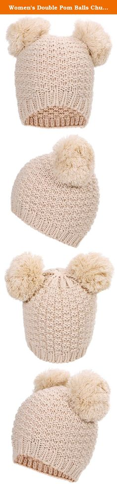 "Women's Double Pom Balls Chunky Slouchy Warm Beanie Cap Hat,Beige. Beanie hat with double pom pom Super toasty, soft, and stretchy Our warm wooly knit caps are super adorable and will get you looking forward to winter Here's something we learned: throw an extra pom pom on a bobble cap and you get this cute ""eared"" look. Material: Knit Size: High 9"", Wide 8"" Package Includes: 1 x Knitted Hat ."