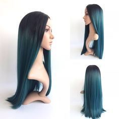 Fashion-Ombre-Turquoise-Teal-Silk-Straight-Synthetic-Lace-Front-Wig-Glueless-Natural-Black-Green-Heat-Resistant di SweetAmoretto su Etsy https://www.etsy.com/it/listing/257039185/fashion-ombre-turquoise-teal-silk