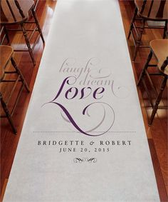 Expressions Personalized Wedding Aisle Runner Wedding ceremony decorations features a expressions personalized wedding aisle runner. Choose your words of expression as you walk down the aisle in style. Personalized Aisle Runners are a fantastic way to make your ceremony extra special.
