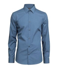 Slate blue, long-sleeved, button down shirt in premium cotton with a turn 66e3421cce