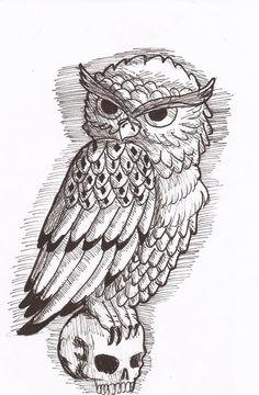 owl skull tattoo - Google Search