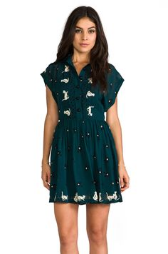 Anna Sui Cat and Birdcage Dress in Teal Multi   REVOLVE