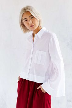 Martel Bell Sleeve Button-Down Shirt