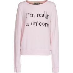 WILDFOX I´m Really A Unicorn Rosy Cheeks Sweater with slogan print ($150) ❤ liked on Polyvore featuring tops, sweaters, shirts, sweatshirts, shirts & tops, baggy shirts, loose tops, pink long sleeve shirt and unicorn shirt