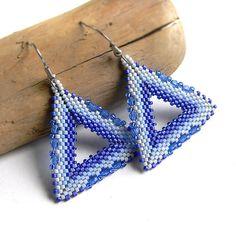 Blue triangle earrings - beadwork jewelry