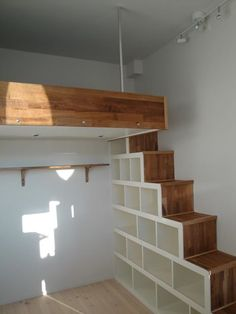 Loft stairs storage ...Love this simple idea, but with a hand rail
