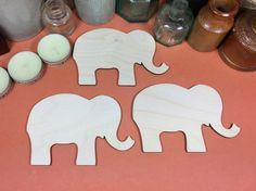 Elephant 12cm - Wooden Elephant Shape x 3, Craftshapes