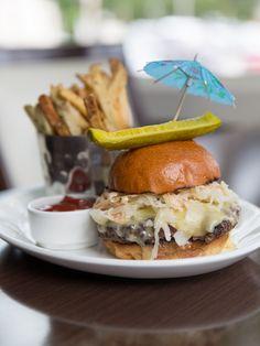 Reuben Burger- All Natural Beef, Swiss, Sauerkraut, Thousand Island Dressing