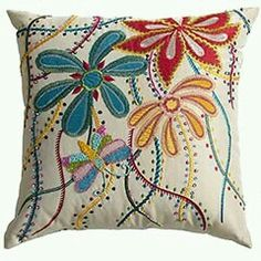 Beaded pillow - I have this in my living room. Scatter Cushions, Pin Cushions, Throw Pillows, Patchwork Cushion, Quilted Pillow, Cushion Cover Designs, Pillow Inspiration, Art Textile, Flower Pillow