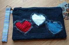 Patriotic Red White Blue Hearts Denim Clutch Bag Purse with Zipper Closure and Removable Wrist Strap by DenimDelightsByLinda on Etsy
