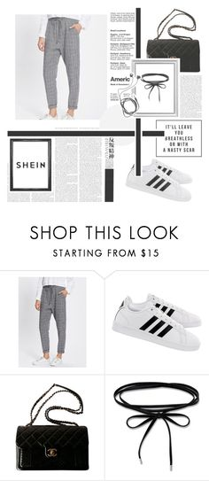"""Rolled Hem Drawstring Plaid Pants"" by lelush-1 ❤ liked on Polyvore featuring adidas, Chanel, Hedi Slimane and Diane Von Furstenberg"