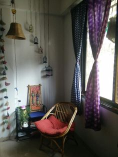 One of my favorite corners .  I'm obsessed with decorative cages and ended up collecting a lot of them.. However wasn't sure how to use it all.. Thus, I tried to hang them differently.. Which helped me to bring life to a barren wall... #indiandecorideas #indianhome #brightandcolorful #homedecor #beautifulhome