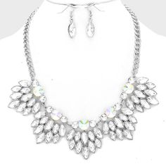 FLORAL LEAF CRYSTAL NECKLACE SET $50 Price Includes Earrings ---------- #WeddingJewelry #EastCoastOccasions #TheWeddingBoutique #Affordable #Timeless #Elegant #WeddingParty #Bridesmaids #BridalCollection #ElegantNecklace #BridalNecklace#BridesmaidsNecklace #Necklace #WeddingGuests #BridalJewelry EastCoastOccasions.com