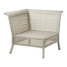 IKEA - KUNGSHOLMEN, Hoekelement, buiten, lichtgrijs,  , , Door verschillende zitelementen te combineren, kan je een loungeset in een vorm en afmeting samenstellen die bij je terras, balkon of tuin past.Duurzaam, weerbestendig en onderhoudsvrij omdat de meubels zijn gemaakt van kunststof rotan en roestvrij aluminium.Je kan het zitcomfort nog verder verbeteren en je zitbank een persoonlijk tintje geven door deze te completeren met zit- en rugkussens in verschillende maten, kleuren en dessins.