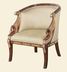 Maitland Smith 4331-065 Hand-Carved Mahogany Empire Armchair