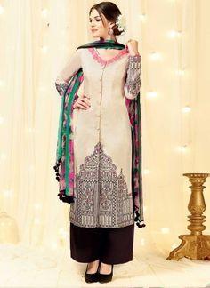 089d733f08 Classy Cream Embroidery Thread Work Cotton Satin Pakistani Suit.Online  pakistani palazzo suit in Delhi.