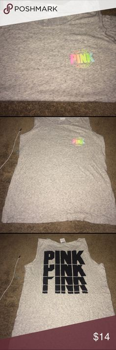PINK muscle tank Grey with multi color lettering PINK muscle tank PINK Victoria's Secret Tops Muscle Tees