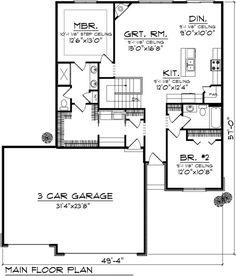 Ranch Style House Plan - 2 Beds 2 Baths 1367 Sq/Ft Plan #70-1020 - Houseplans.com