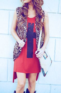 She's A Wild Thing Vest: Leopard/Lace