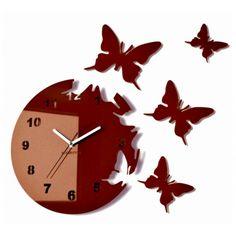 Hnedé nalepovacie hodiny na stenu s motívom motýľov Ticks, Clock, Butterfly, Colours, Ebay, Modern Wall, Home Decor, Amazon, Bedroom