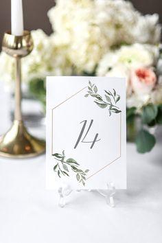 Greenery Eucalyptus Wedding Table Numbers, Printable Table Numbers, Wedding Table Decor, Botanical Table Numbers by JadeAndOak on Etsy