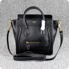 b2f1cc9ae8 Celine Nano - Black Italian Leather Black Leather Handbags