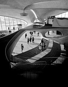 #twa terminal at idlewild (now JFK) airport by eero saarinen, #nyc 1962 by ezra stoller. @History_Pics