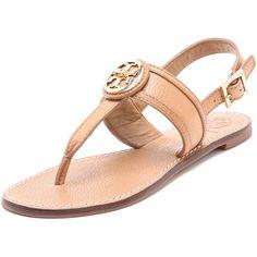 bf706dab1bc530 Tory Burch Selma Flat Sandals ( 250) ❤ liked on Polyvore Flat Sandals