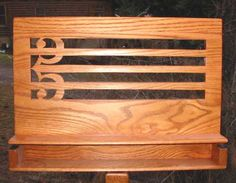 Handcrafted wooden music stands from Mister Standman Music Stands -- Alto Clef openback carving