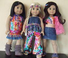 "18"" American Girl Doll Clothes - Hippie Tye Dye Print Rainbow Bohemian Psychedelic - You Pick Coordinates"