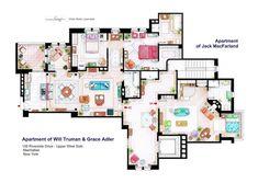 Les plans détaillés de la maison des Simpson, Dexter, Frasier, The big Bang Theory etc...