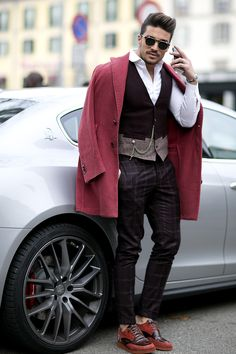 Mariano Di Vaio with his Maserti Quattroporte  at the Milan Fashion week - street style #mensfashion www.mdvstyle.com