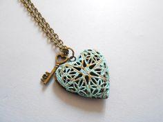 collier porte photo coeur - collier coeur et sa clé - ENVOI GRATUIT : Collier par esthete-bijoux