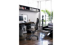 Eames Aluminum Executive Chair - Vicenza Leather, Black - Design Within Reach