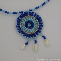Maasai Blue Bead Shell Pendant Necklace