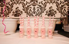 bottles / straws & initials for girl's first birthday