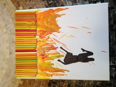 Nature Inspired Melted Crayon Art- Jumping in Sunshine (This silhouette is actually made from a picture of me!)