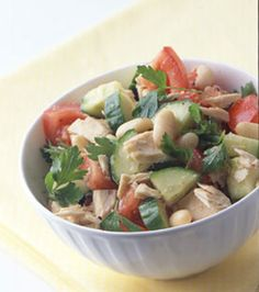 Tuna and White Bean Salad -- alternate to classic tuna salad. This one looks delicious.