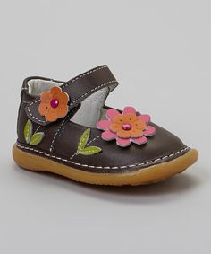 Take a look at this Brown & Pink Layered Daisy Leather Squeaker Mary Jane on zulily today!