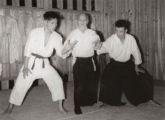 Motomichi Anno, Morihei Ueshiba, Michio Hikitsuchi in Kumano Dojo c. 1960