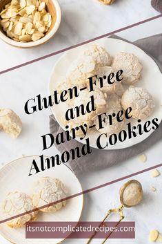 Learn how to many these easy five ingredient Almond Cookies.    Both Gluten and Dairy-Free. They have a delicious chewy consistency and make a fantastic edible gift. Head to the blog to get more details and the recipe.    Almond cookies | gluten free almond cookies    #almondcookies #glutenfreealmondcookies #easycookierecipes #easyrecipes #itsnotcomplicatedrecipes  #cravecookconsume    itsnotcomplicatedrecipes.com
