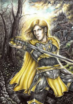 SUN AND STEEL | paladin, knight, sword, traditional art, medieval, drawing, illustration, fantasy art, castle, historical, color pencils, epic fantasy, warrior, swordsman, prince