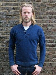 Pure Blue Japan Indigo Shawl Collar Sweatshirt