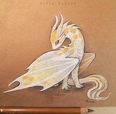 Kingsnake dragon by AlviaAlcedo on DeviantArt Cute Dragon Drawing, Dragon Sketch, Cute Fantasy Creatures, Mythical Creatures Art, Mystical Creatures Drawings, Cute Animal Drawings Kawaii, Kawaii Drawings, Dragon Artwork, Creature Drawings