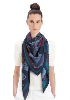 Hermès cashmere and silk shawl, 55. Cavalleria d'Etriers. Blue/purple/violet. Designed by Virginie Jamin & Francoise De La Perriere.