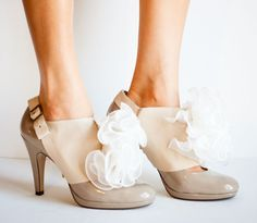 SALE Taupe and Ivory Leather Ruffle Spats size 810 by jdotdesigns, $39.00