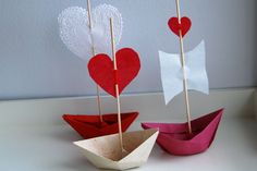 Valentine love boats : can fill with jelly beans