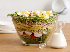 Get Spring Layered Salad with Asparagus and Buttermilk Dressing Recipe from Food Network